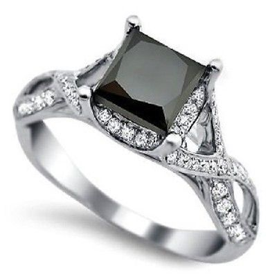 Perfect Princess Cut Solitaire Black Diamond Wedding Ring Ct with Free Certificate eBay