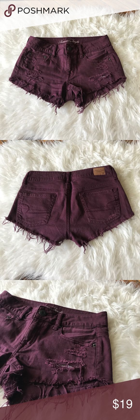 AEO Maroon shorts Maroon color they are like new; worn twice. American Eagle Outfitters Shorts Jean Shorts