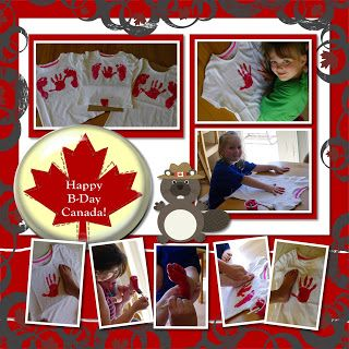 Rather Be Scrapbooking Canada Day Creative Memories Hand Print and Foot Prints Canada Day Flag Shirts