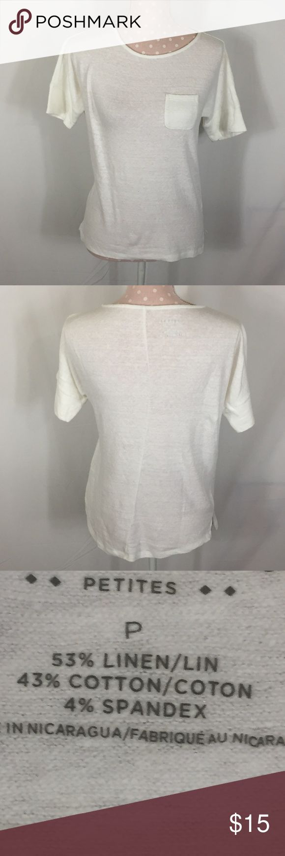 Quality Linen Petite Tee NWOT Airy Tee Size is listed only as P, so please see pictured measurements. Large cuff on the sleeves and a seam down the center back. Small side slits Please see pictures for materials, care and measurements. B1 Tops Tees - Short Sleeve