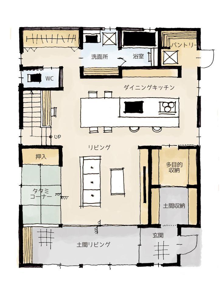 最近は広い土間空間のある住宅が流行しています。家の中なのに土足で使える空間は、住む人次第で楽しみ方はたくさんあります。今回はそんな土間をLDK空間に組み込んだ間取りです!