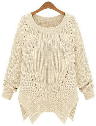 Apricot Long Sleeve Hollow Asymmetrical Sweater - Sheinside.com