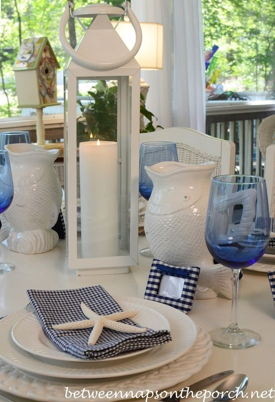Blue and White Beach Coastal Themed Table Setting from Between Naps on the Porch