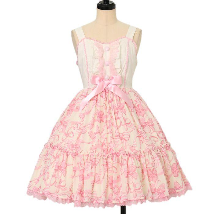 Angelic Pretty| アンジェリックプリティのラッピングリボンティアードジャンパースカートです。ロリータファッション服の買取&通販ワンダーウェルトでは他にもAngelic Pretty| アンジェリックプリティの商品を2612点取り扱っています。海外発送も行っております。
