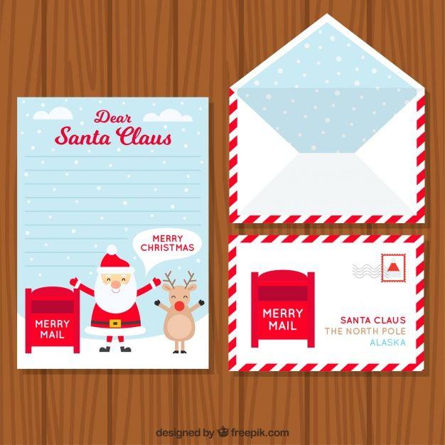 Set van envelop met briefkaart en brief voor de Kerstman Gratis Vector