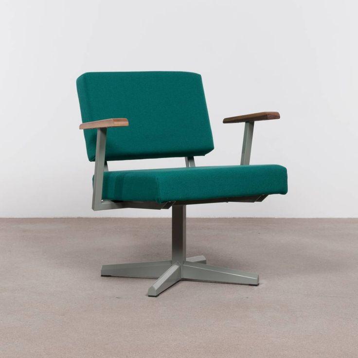 Galvanitas Compass Collection DF28 industriële fauteuil met cementgrijsframe en groene stof