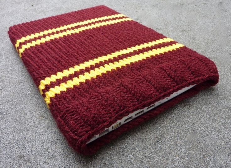 Knitted Laptop sleeve Macbook sleeve 13 inch - Harry Potter - Gryffindor Bordeaux Red Golden Yellow. €31.00, via Etsy.