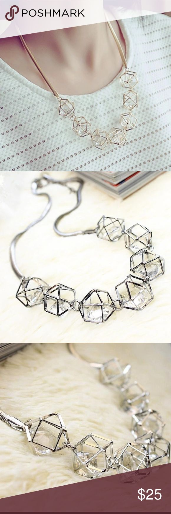 NWT Geometric Crystal Necklace Womens Hollow 3D Crystal Necklace. This is super cute and a great statement piece! New with tags! Jewelry Necklaces