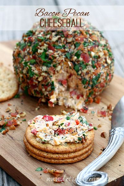 Bacon Pecan Cheeseball   Three kinds of cheese mixed with bacon, pecans, garlic and more. This is the ultimate appetizer recipe! #recipe