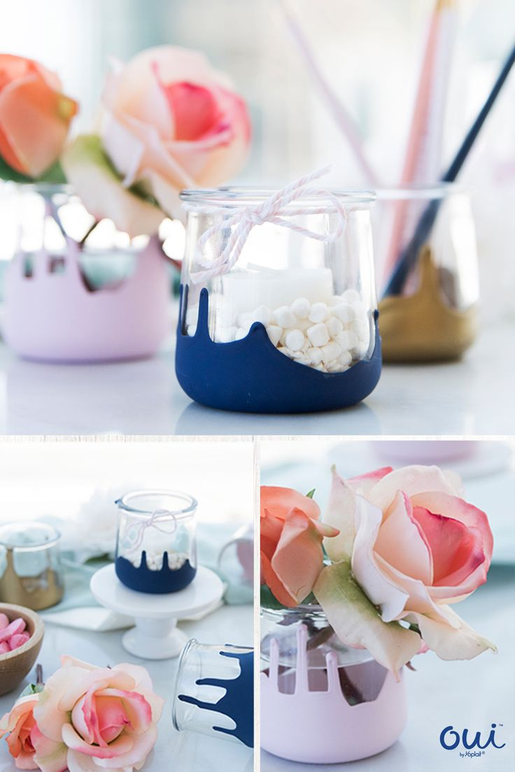 Oui by Yoplait painted pots are the prettiest most versatile craft perfect for gifts or to keep. Lightly dip clean pots into paint, letting it dry upside down for drippy edge. Let dry and put them to use for years to come.
