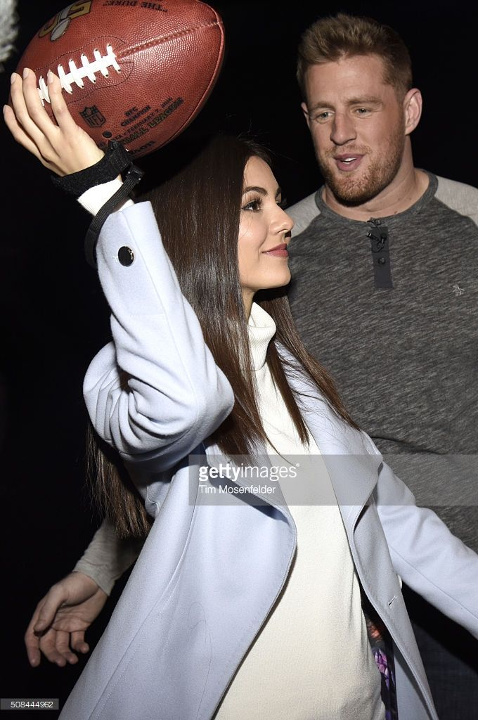 Victoria Justice (L) and J.J. Watt attend Victoria Justice & J.J. Watt Kick off Exclusive Verizon VR Experience at Pepsi Super Bowl 50 at Super Bowl City on February 4, 2016 in San Francisco, California.
