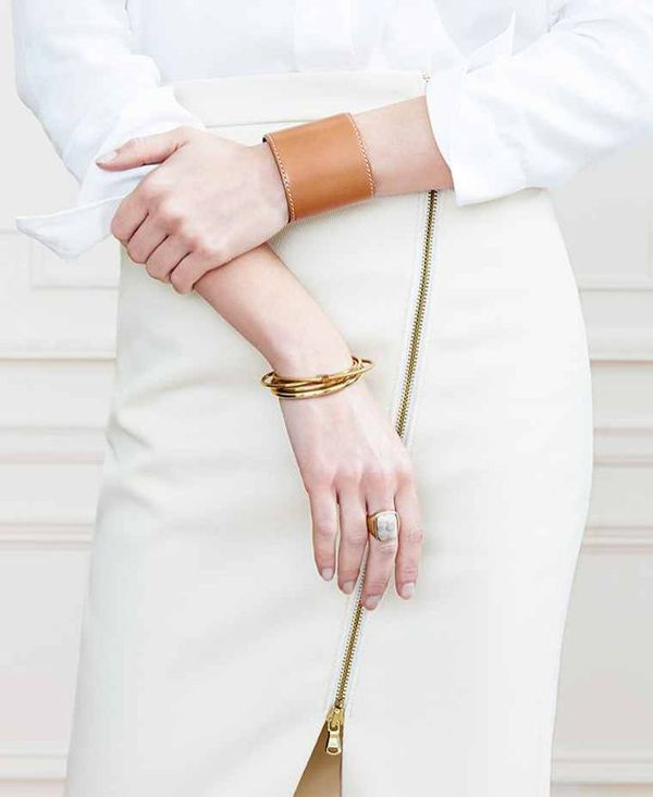 leather cuff + gold bangles