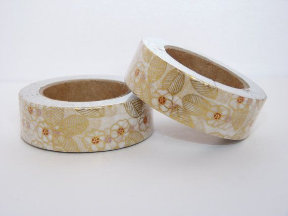 Foil Washi Tape roll white with gold floral patterns rose  scrapbooking planner supplies Gift  decoration wedding