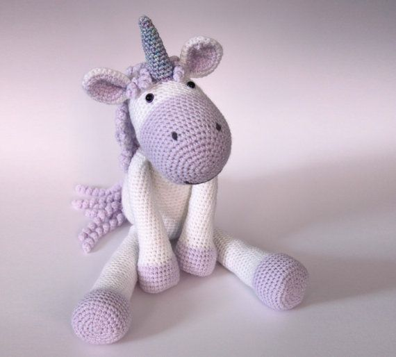 * Please note that this listing is for a PDF pattern and not the finished toy!* Calista the Unicorn is a soft, floppy unicorn that measures around 48cm (19) measured from her toes to the tips of her horn when made using DK yarn with a 3.5mm crochet hook. The pattern is suitable for beginners and includes detailed instructions, but please let me know if you need any more help or advice! Youll be able to download the files here on Etsy as soon as your payment has been confirmed and will…