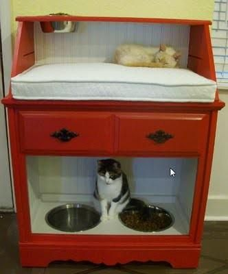 Old dresser made into pet station with cat food area on the