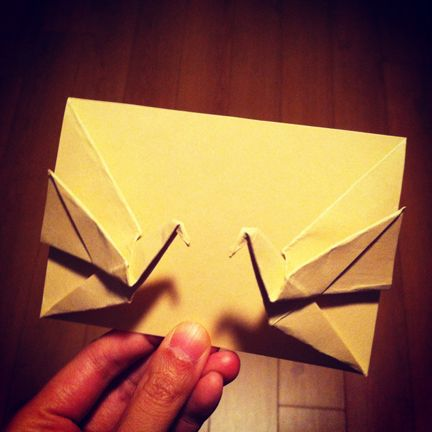Origami double crane = double happiness. Folding instructions and video.