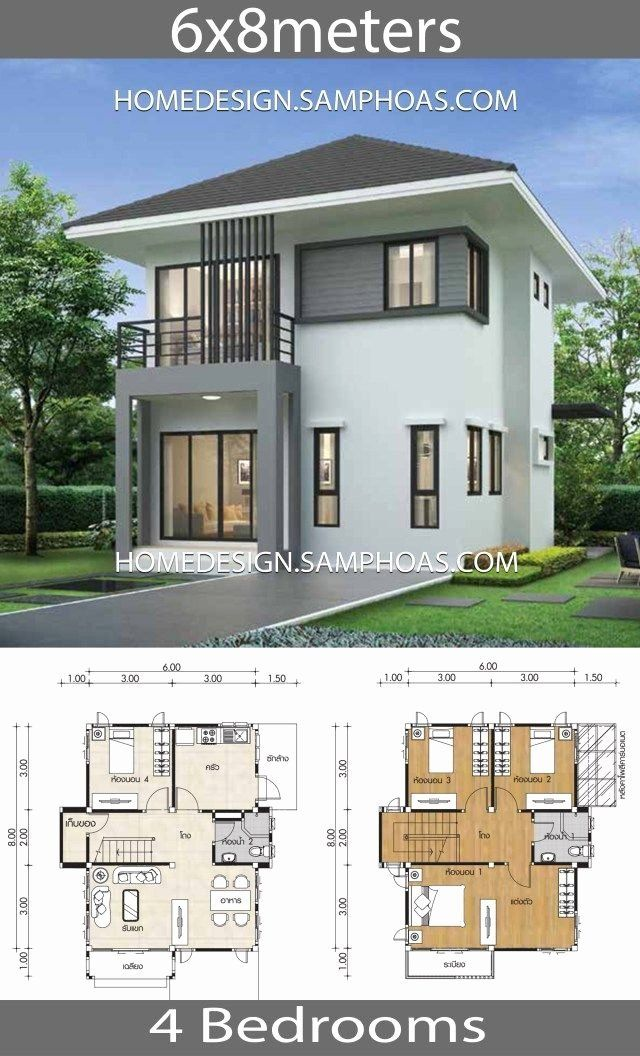 2 Homes In One Designs Beautiful Small House Plans 7x8m With 4 Bedrooms Home Ideassearch Affordable House Plans Small House Design Plans Modern House Plans