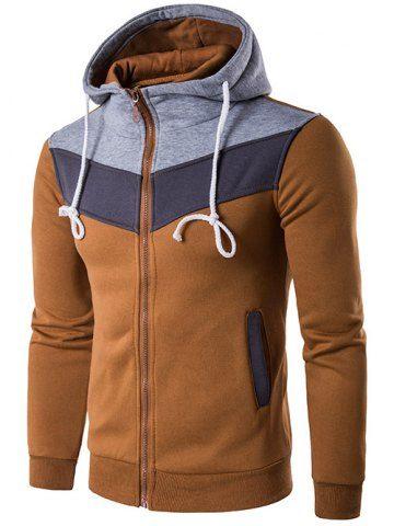 Color Block Splicing Zip-Up Hoodie capuche - Camel L