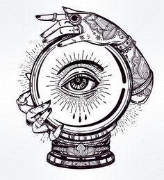 Illustration Of a Crystal Ball In Psychic Hands. - Tattoos Vectors