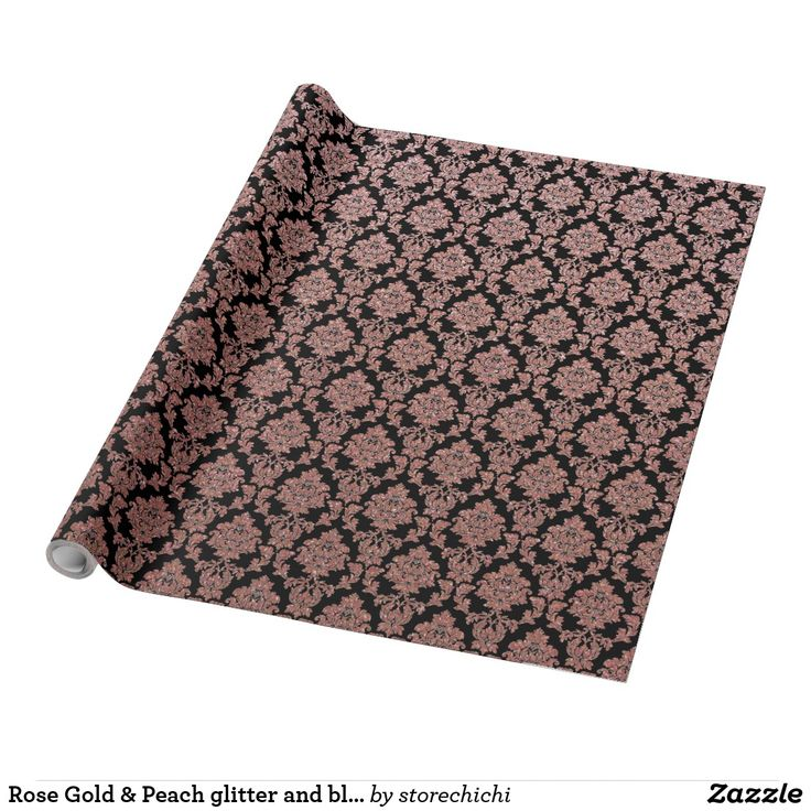Rose Gold & Peach glitter and black damask