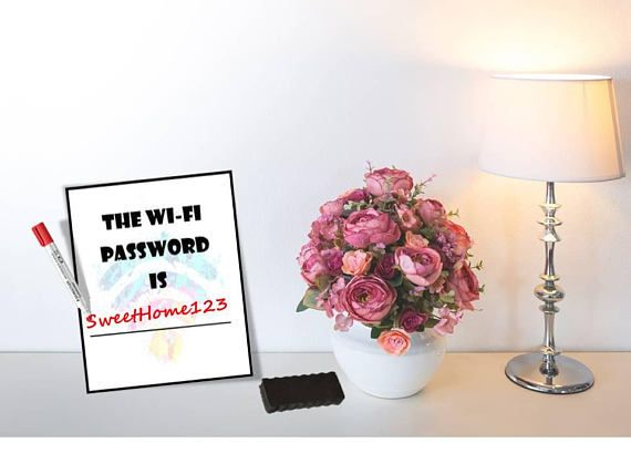 Wifi password printable Wipe Board, Internet password  (Hard Copy)