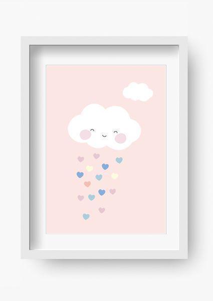 """Bilder – Kinder Poster """"Wolke Rosa"""" (Kinderzimmer Bild) – ein Designerstück von fabeltal bei DaWanda"""