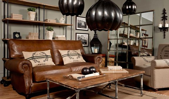 There s such great texture and lines in industrial decor for Industrial chic living room