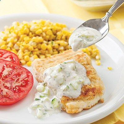 Raita, a traditional Indian condiment consisting of cucumber and yogurt, makes a quick topping for simple sautéed fish fillets. Recipe: Fish Fillets with Cucumber Raita - Delish.com