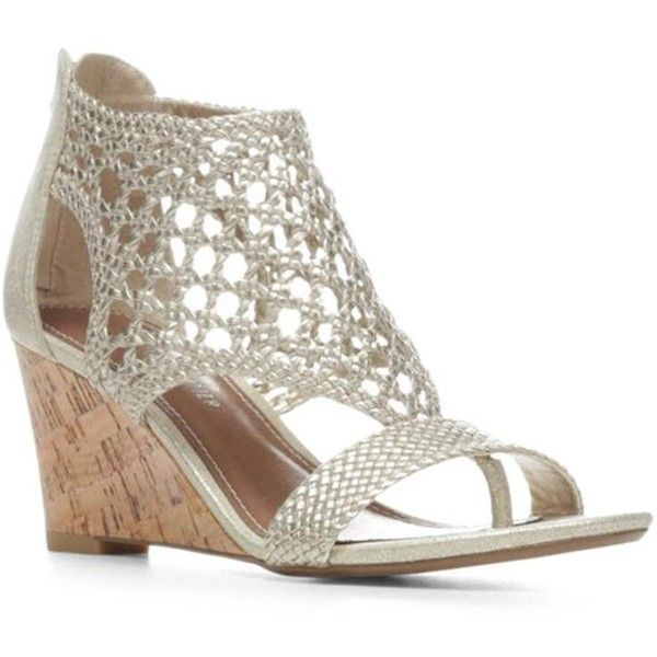 Donald J Pliner Women's Jolie- Silver (6) ($168) ❤ liked on Polyvore featuring shoes, sandals, silver, wedge sandal, woven metallic, t strap wedge sandals, wedge heel sandals, silver wedge shoes, t strap thong sandals and silver metallic sandals