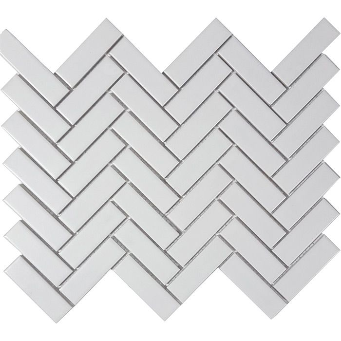 Check out the deal on Tesoro Solid White - Herringbone Matte 3/4 x 2 1/2 Mosaic at GBTile Collections
