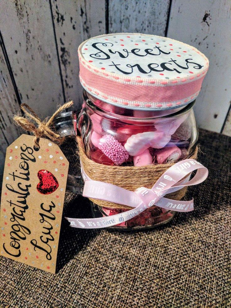 Baby Girl Congratulations Personalised Sweet Filled Mason Jar by JubblyJars on Etsy https://www.etsy.com/uk/listing/520107211/baby-girl-congratulations-personalised