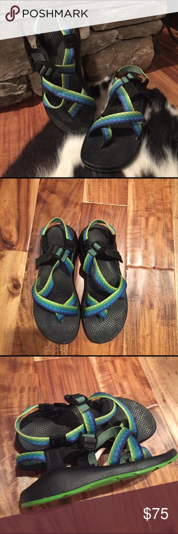 Women's Chacos Sandals Size 9 Size women's 9 Chacos, only slightly worn...features yellow, light green, dark green, purple, light blue,  and dark blue tribal prints... sorry, no trades Chacos Shoes Sandals