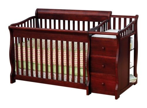 Crib With Attached Changing Table And Storage Space