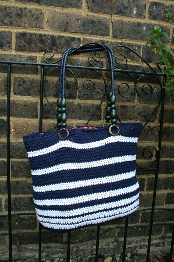 CROCHET PATTERN crochet purse pattern, crochet nautical bag pattern, summer tote…