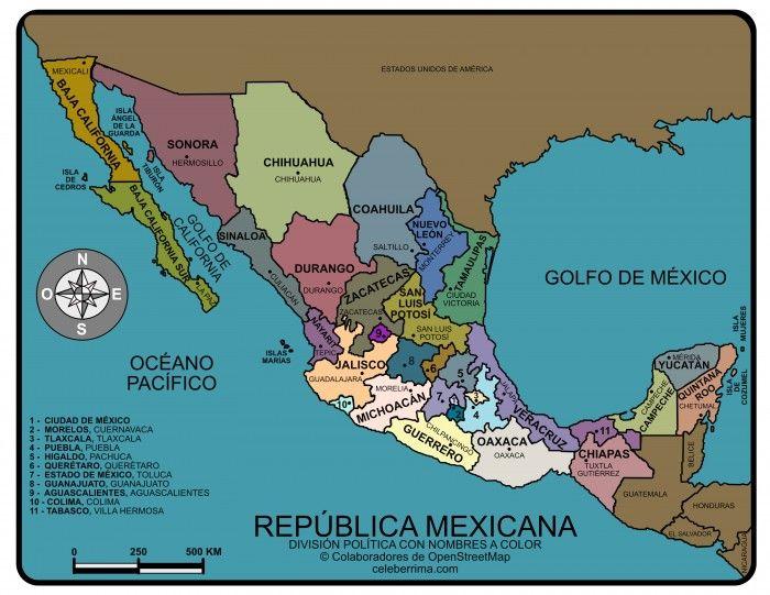 Mapa De La Republica Mexicana Con Nombres Informacion Imagenes Republica Mexicana Con Nombres Mapa Mexico Con Nombres Mapa De Mexico