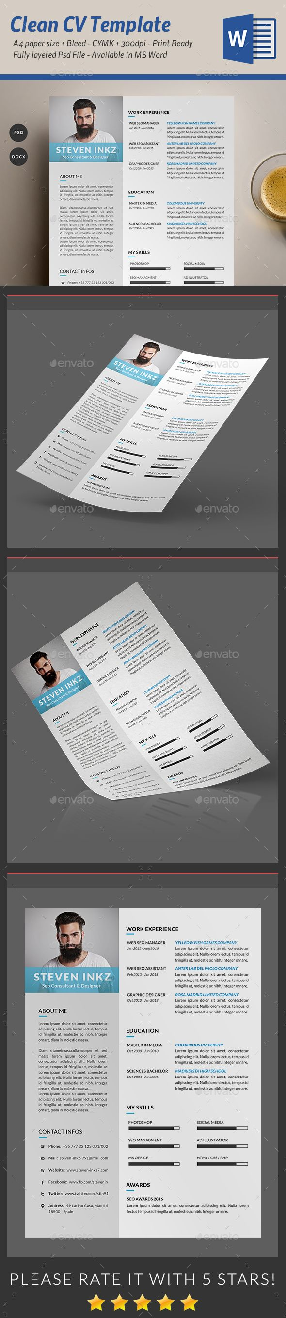 Resume CV Template PSD, MS Word