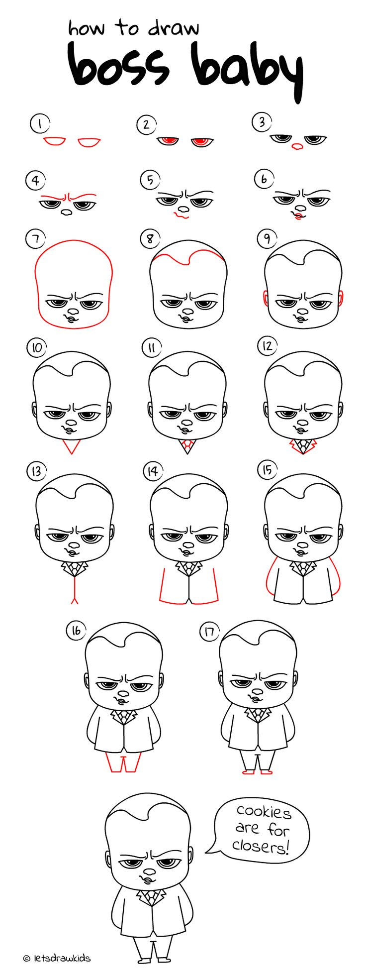 How to draw BossBaby. Easy drawing, step by step, perfect for kids! Let's draw kids. letsdrawkids.com/