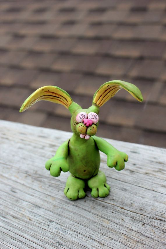 129 best easter all zombie easter images on pinterest plants vs green zombie easter bunny polymer clay sculpture negle Image collections