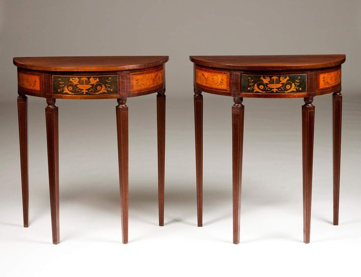 A Pair Of D.Maria (1777 1816) Demi Lune Tables Rosewood