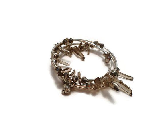 Check out Smoky Quartz Silver Bracelet, Aura Quartz, Triple Strand Stone Bracelet  Smoky Quartz Jewelry, Gemstone Stacking Bracelet on ginatuckerdesigns