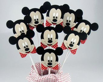 Felt Minnie Mouse Centerpieces On a Stick 6pcs by KeceSus on Etsy