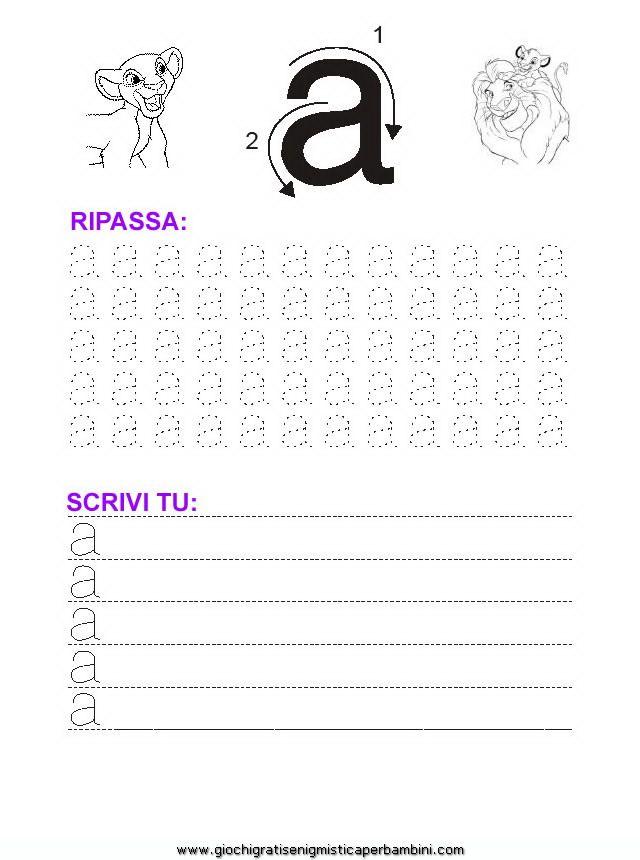 04_grafia_lettera_a Schede didattiche impara a scrivere le lettere