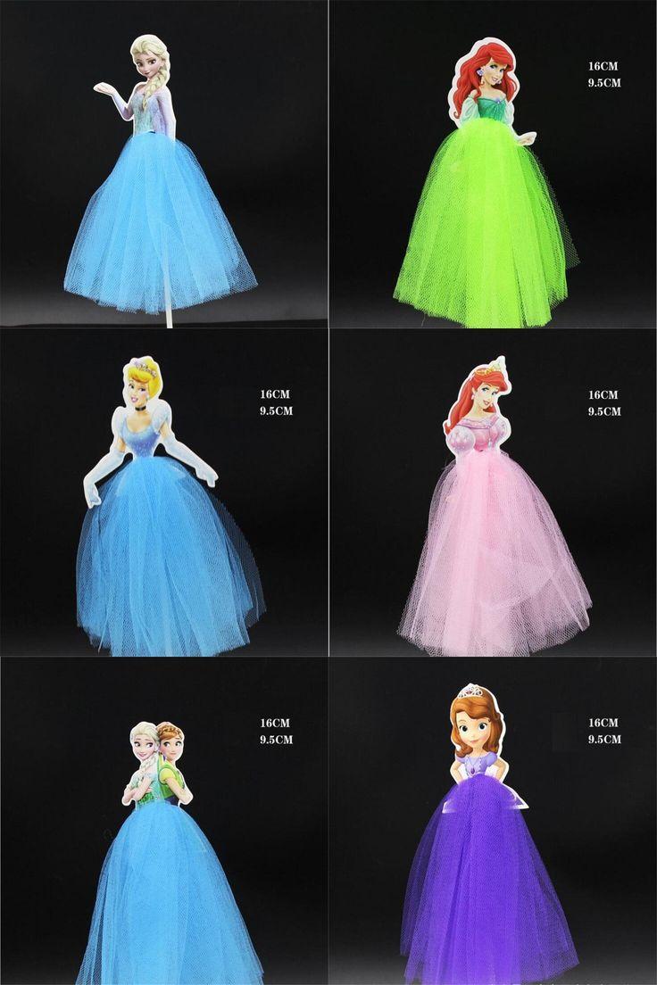 [Visit to Buy] 1Pcs/new Yarn skirt For Frozen Princess's birthday Cake Flag  Beautiful princess cake Fiesta De Birthday Cake Party Baking Tools #Advertisement