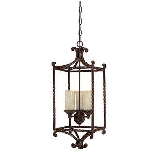 This could work in the foyer or breakfast room - View the Capital Lighting 9223-279 Highlands 3 Light 1 Tier Cage Chandelier at LightingDirect.com.