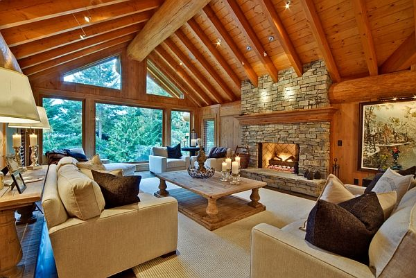 Modern living room inspired by log cabin design Bring Home Some Inviting Warmth With The Winter Cabin Style
