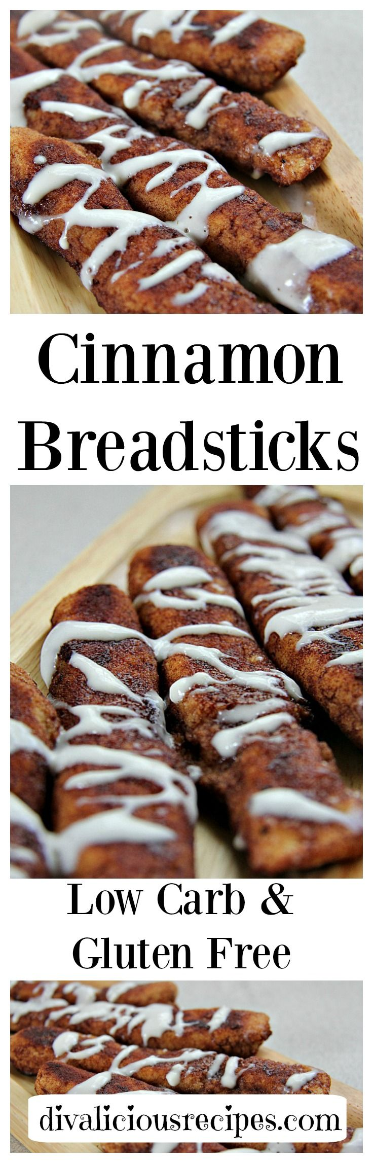 Low carb & gluten free cinnamon sticks made with coconut flour.