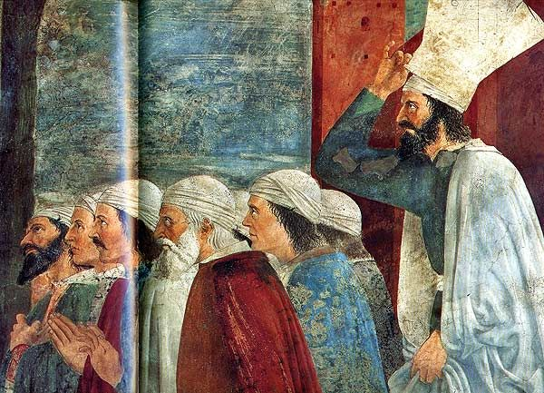Exaltation of the True Cross form the monumental Fresco cycle in the Basilic of San Francesco, Arezzo.