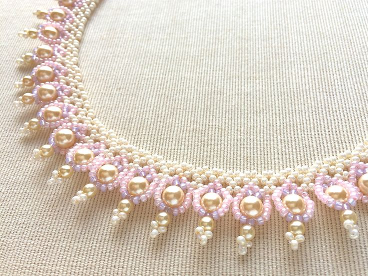 Beadwoven necklace by Handmade Beaded Corsage, a Japanese maker of fine beaded pieces.