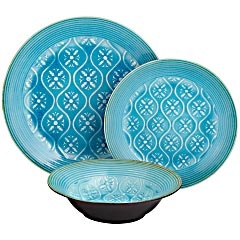 Turquoise Reactive Dinnerware from Pier 1 Imports: Aqua Dinnerware, Dining Room Furniture, Turquoise, Dishes, Decorative Plates, Kitchens Bath Dining Rooms, Flatware, Dinnerware Pier, Bowls