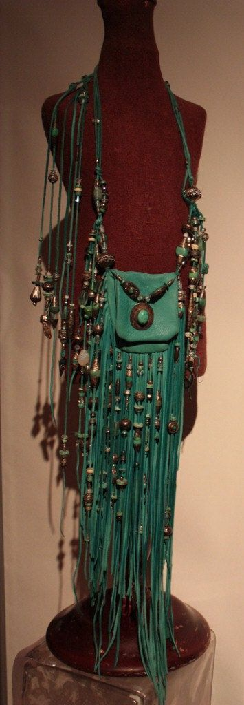 Leather Fringed Bag with Silver and Turquoise Beads